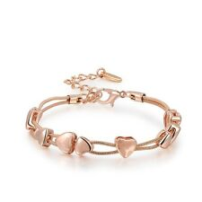 WrYrFion 18K Rose Gold Plated Premium Quality Heart Shape Bracelet for Women