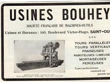 BOUHEY USINES  FRAISEUSES RABOTEUSE LIMEUSE SAINT OUEN PUBLICITE 1914 FRENCH AD