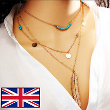 GOLD LONG NECKLACE FEATHER BEADED NECKLACE BOHO FESTIVAL CUTE NECKLACE CHAIN NEW