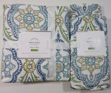 Green Blue White Dawn Cal/ King Duvet Cover 2 King Shams Set New Pottery Barn