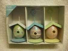 NANTUCKET COLORFUL EGG BIRDHOUSE DESIGN PHOTO HOLDER PICTURE STAND (3 PACK)