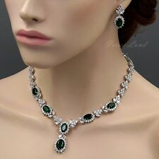 18K White Gold GP Emerald Zirconia CZ Necklace Earrings Wedding Jewelry Set 546