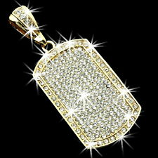 "3.75"" HUGE BLING Micro Pave Set Crystal Cz Dog Tag Pendant Medallion Mens Ladies"