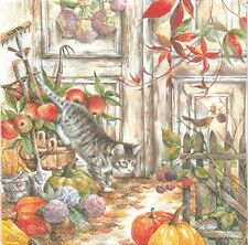 2 Serviettes en papier Automne Chat Decoupage Paper Napkins Hunting Cat
