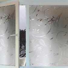 Home Frosted Glass Privacy Scroll Flower Window Static Cling Self Adhesive Film