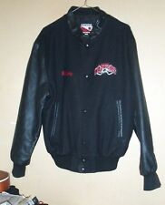 Wool / leather sleeve Canadian made embroidered hockey jacket-M !