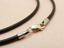 ~Custom Made~925 STERLING SILVER 2mm Black SILICON Rubber Choker Cord NECKLACE
