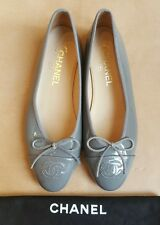 100% Authentic CHANEL Grey Flat Shoes - Size 36.5