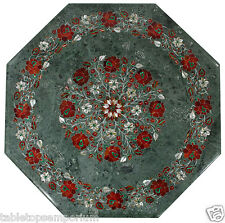 "18"" Green Marble Table Top Coffee Hakik Handmade Floral Pietra Dura Art Decor"