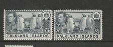 Falklands 1938 Def, 2/6 (2) different shades , see notes