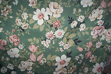 """Vintage 1950s ? curtains green & pink roses 69""""d x 91""""w"""