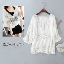Women White Peasant Embroidered Deep v-neck Blouse Crochet Cotton Top Shirt