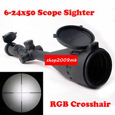 "6-24x50mm RGB Mil-Dot Scope Sight for Rifle Hunting with 1"" Ring 20mm Rail Mount"