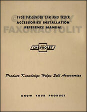 1958 Chevrolet Accessory Installation Manual 58 Chevy Car Corvette Pickup Truck