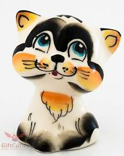 Playful cat kitty Gav Collectible Gzhel style Porcelain Figurine hand-painted