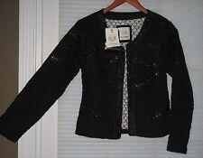 MALVIN WOMAN HAMBURG Black Embellished Quilted Blazer Jacket Coat Size S/M NWT