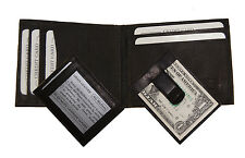 Men's New Genuine Leather Black Bifold Money Clip Wallet ID Credit Card Holder