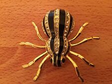 Spider Brooch Large Gold Coloured Metal With Black Stripes & Diamonte Stones