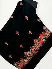Large Embroidered Black Wool Shawl Red & Beige Leaves Crewel Embroidery Pashmina