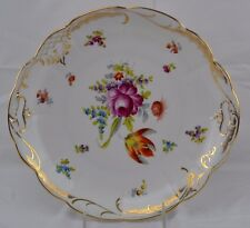 Dresden Flowers Two Handled Plate Double Gold Lots of Gold Trim