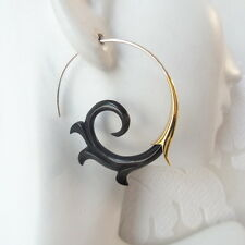 Carved Black Spiral Tribal Earrings .925 Sterling Silver Hook Bohemian Jewelry