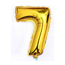 """40"""" Metallic Gold Glossy Seven Year Old Birthday Party Number 7 Float Balloon US"""
