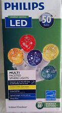 PHILIPS 50 MULITI FACETED SPHERE STRING LIGHTS WEDDING PATIO GAZEBO WHITE WIRE