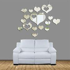 15pcs Home 3D Mirror Removable Heart Art Wall Stickers Living Room Decoration q2