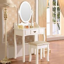 Vanity Makeup Dressing Table Set w/Stool Drawer & Mirror Jewelry Desk White Wood