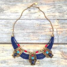Anthropologie NAVY Blue Glass TIBETAN Necklace BOHO STATEMENT BIB Collar NEW