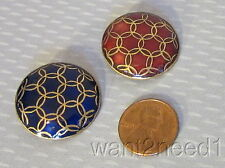 art deco geometric vtg FRENCH ENAMEL BUTTONS 2 cobalt & red gilt metal 27mm