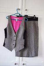 Diane Von Furstenberg Suit Skirt Waistcoat Grey Houndstooth Wool 12 14