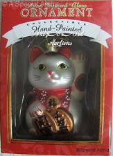 Asian MANEKI NEKO Cat XMAS ORNAMENT New NIB Lucky Fortune Kitty w/ Glitter Japan
