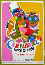 Vera Cortes Carnaval Juan Ponce De Leon Poster Serigraph DIVEDCO 88 Puerto Rico