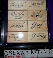 STAMPIN UP SINCERE SALUTATIONS 8 RUBBER STAMPS BIRTHDAY THANKS WISHES GET WELL