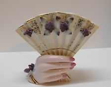 Hand Fan Vase Purple Flowers Pink Nails Gold Accents Lefton China Vintage