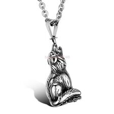 Silver Stainless Steel Wolfhound Wolf Dog Demi-wolf Pendant Men's Necklace