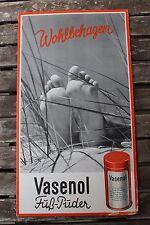 23803 Reklame Schild Wohlbehagen Füße Vasenol Fuß-Puder um 1940-50