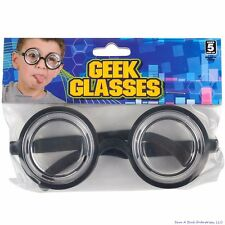 50's Nerd Geek Dork Glasses Thick Lens Kids Shades Costume Coke Bottle Frame GaG