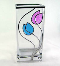 Art Deco/Mackintosh Inspired Blue & Pearl Tulips Design Decorative Glass Vase