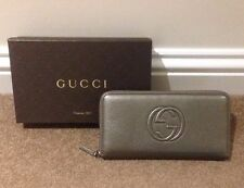 New Gucci Leather Long Zip-around Wallet/Purse - Soho Cellarius - Metallic Grey
