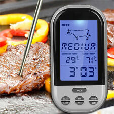 Wireless LCD Remote Cooking Thermometer Kitchen Alarm BBQ Grill Meat Oven Food
