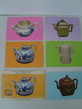 SET OF 6 ANCIENT CHINESE TEAPOT POSTAGE STAMP CARD NATIONAL PALACE MUSEUM TAIPEI