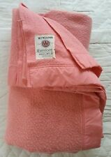Vintage retro Witney pale pink wool blend double blanket 86 x 86 inches K2