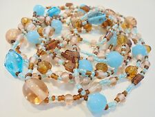 """Vintage Serenity Blue & Amber GLASS Necklace Flapper 60"""" Boho Retro Seed Beads!!"""