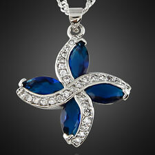 Melina Jewelry Marquise Blue Sapphire White Gold Plated Pendant Necklace