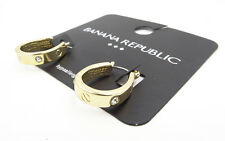 New Banana Republic Gold Tone Horseshoe Shaped Earrings with Rhinestones  #BRE60