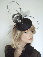 Black Quills & Crystals Button Fascinator Headpiece with Crin Swirls Ascot MN177