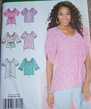 misses BLOUSE top Pattern 16-24 scoop neck loose fitting long TUNIC girly soft
