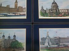 Vintage PIMPERNEL 4 Cork Placemat Set Rectangular London Scenes Made in England